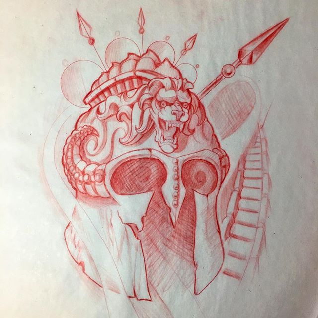 Spartan warrior helmet up for grabs email jasonnicholsonartgmail if interested tattooartist