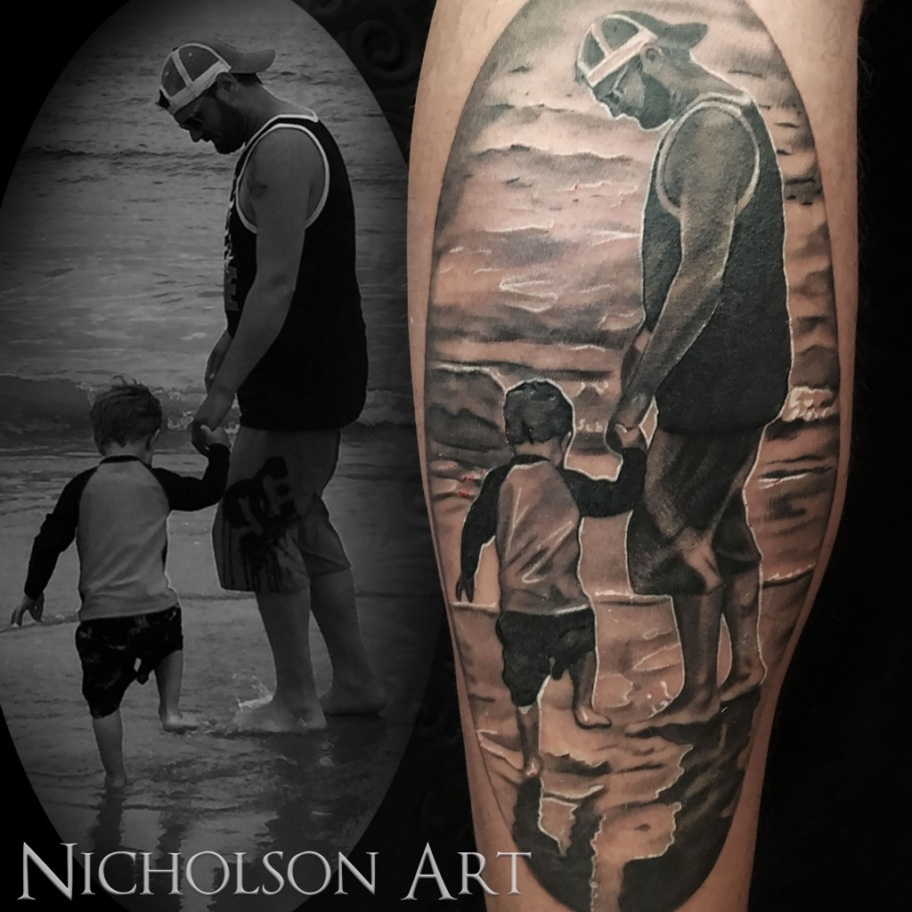 Father son tattoo double deez tattoos for Father and son tattoos