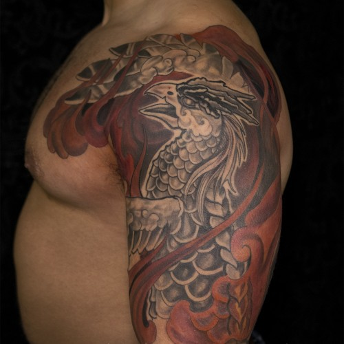 Phoenix Half Sleeve tattoo By: Jason Nicholson at double Deez Tattoos