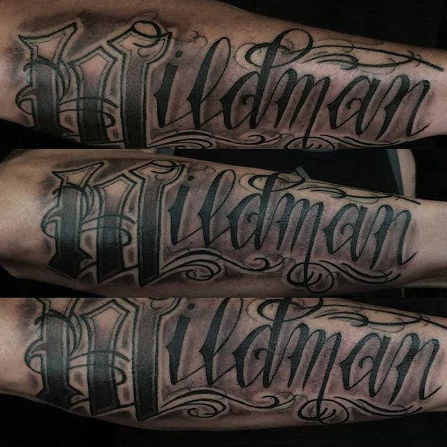 Wildman-script-tattoo-by-Drew-Harris-at-Double-Deez-Tattoos-in-West-Chester-@dr.drewtat2-dabaftercar