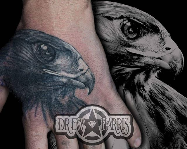 Hawk-tattoo-added-onto-a-wildlife-sleeve-Drew-Harris-is-working-on-at-Double-Deez-Tattoos-in-West-Ch