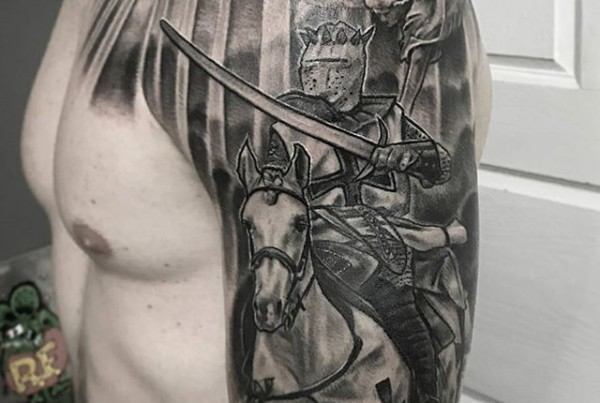 Crusader-tattoo-by-John-Black-at-Double-Deez-Tattoos-in-West-Chester.-Check-him-out-@johnblacktat2-@